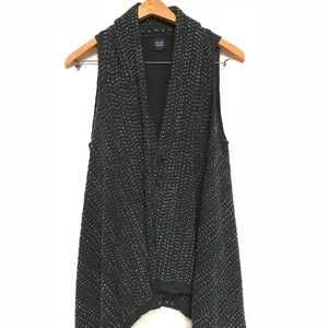 Saks Blue Gray Tunic Shrug, Safety Pin, Open Front